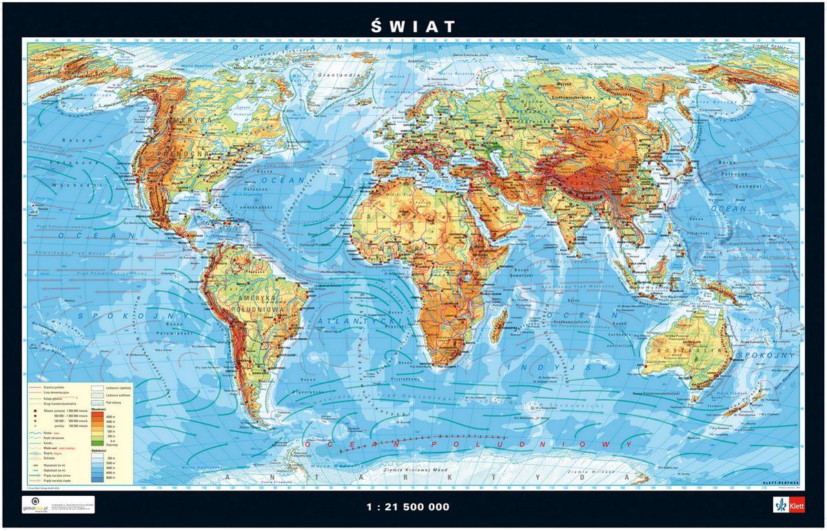 Świat. Fizyczna mapa ścienna świata 1: 21 500 000