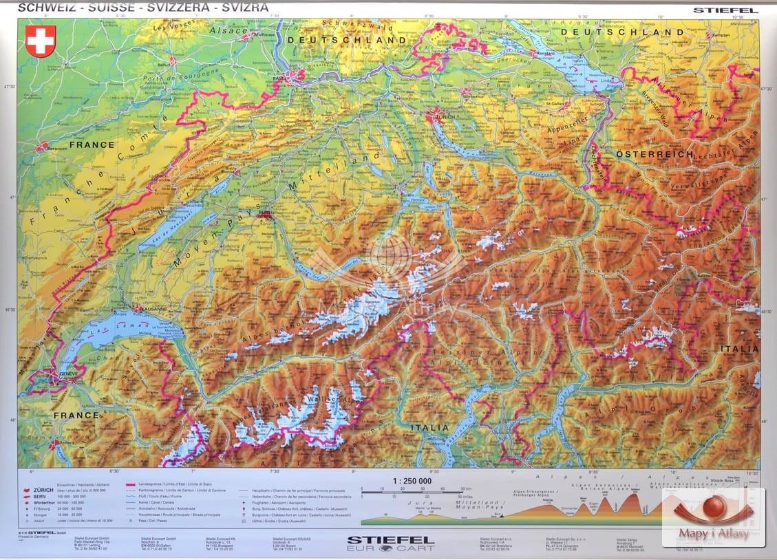 Szwajcaria Mapa Scienna Fizyczna Drewniane Polwalki Stiefel
