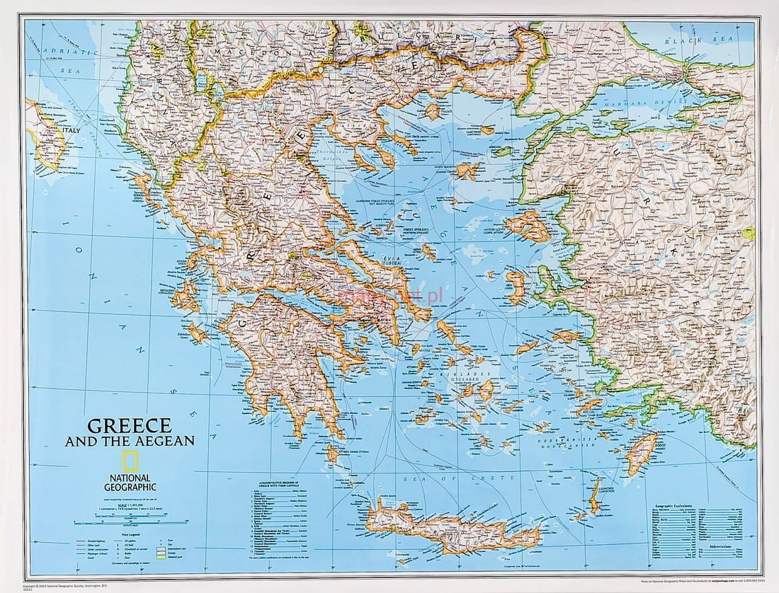 Grecja Mapa Scienna National Geographic