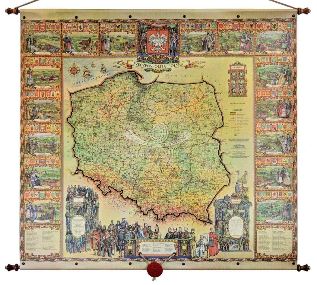 Rzeczpospolita Polska Mapa Scienna Ozdobna