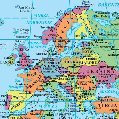 świata Mapa Europy Ze Stolicami Wwwgenialfotocom