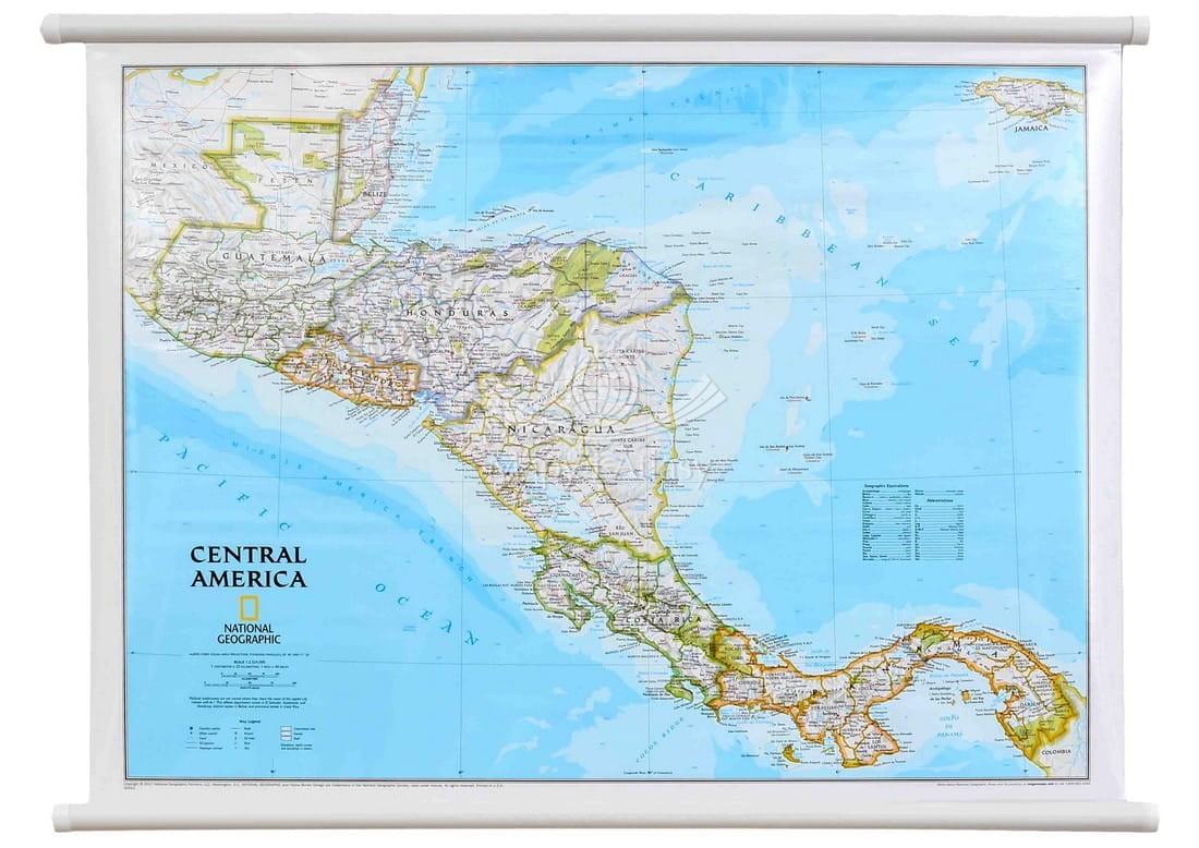 Ameryka Srodkowa Mapa Scienna Polityczna