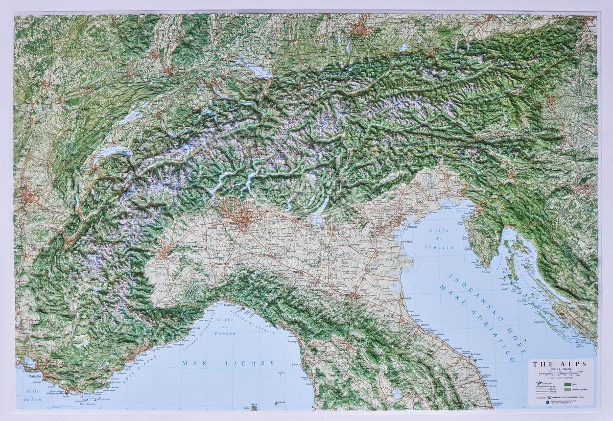Alpy Duza Mapa Plastyczna Trojwymiarowa