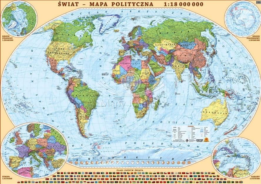 Swiat Mapa Scienna Polityczna Do Powieszenia