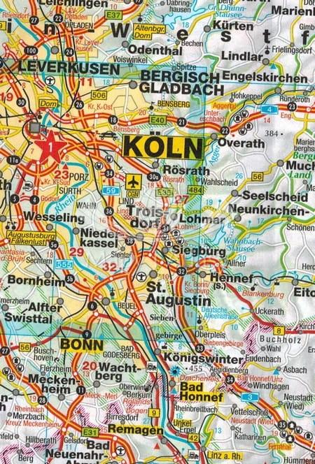 Mapa Niemiec Kolonia Mapa Niemcy Mapa Niemiec Mapa Samochodowa