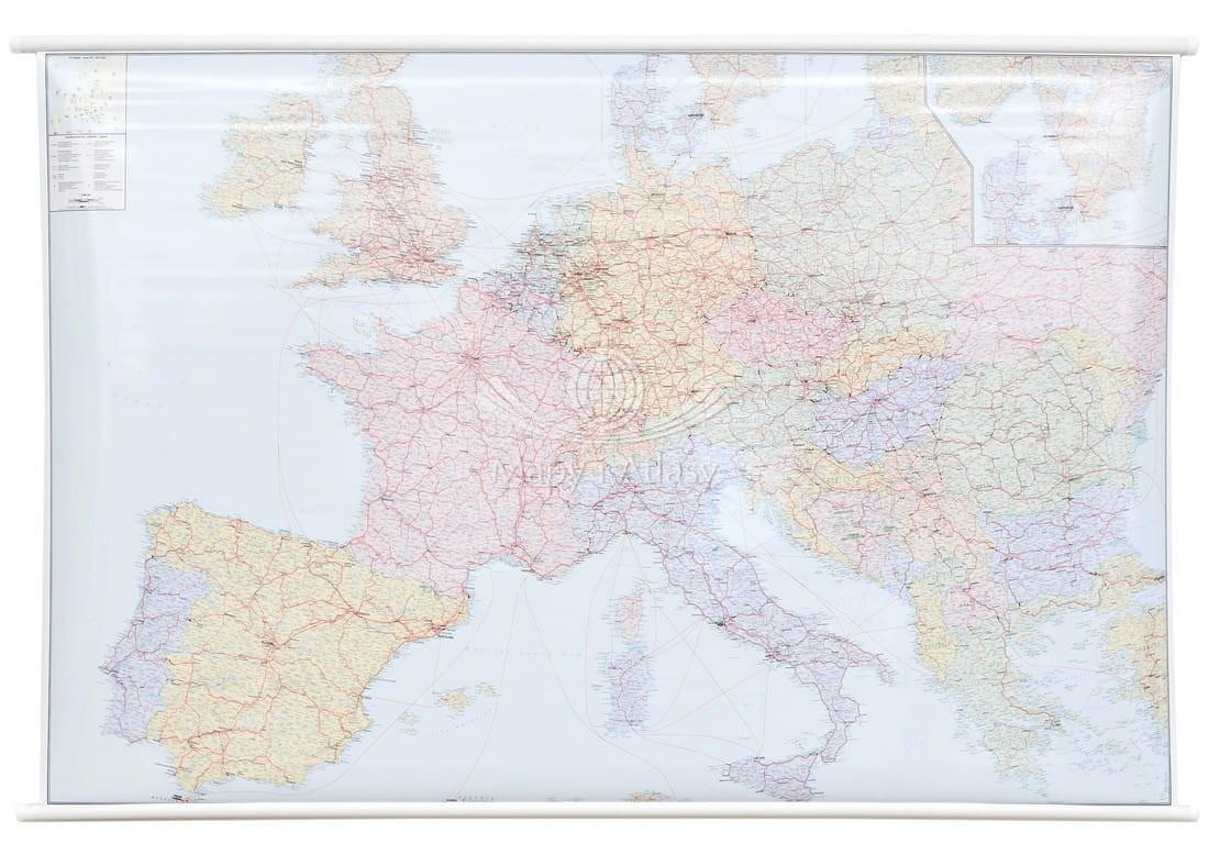Europa Kolejowa Mapa Scienna Do Zawieszenia