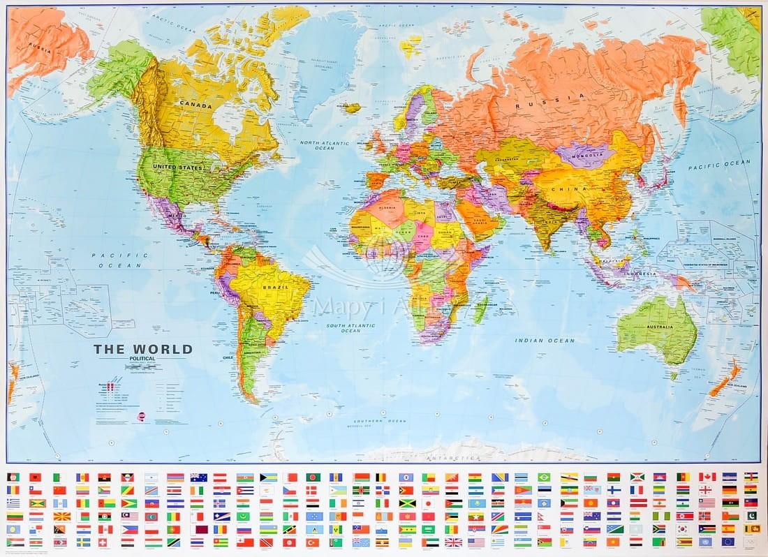 Swiat Mapa Scienna Polityczna Z Flagami Mi