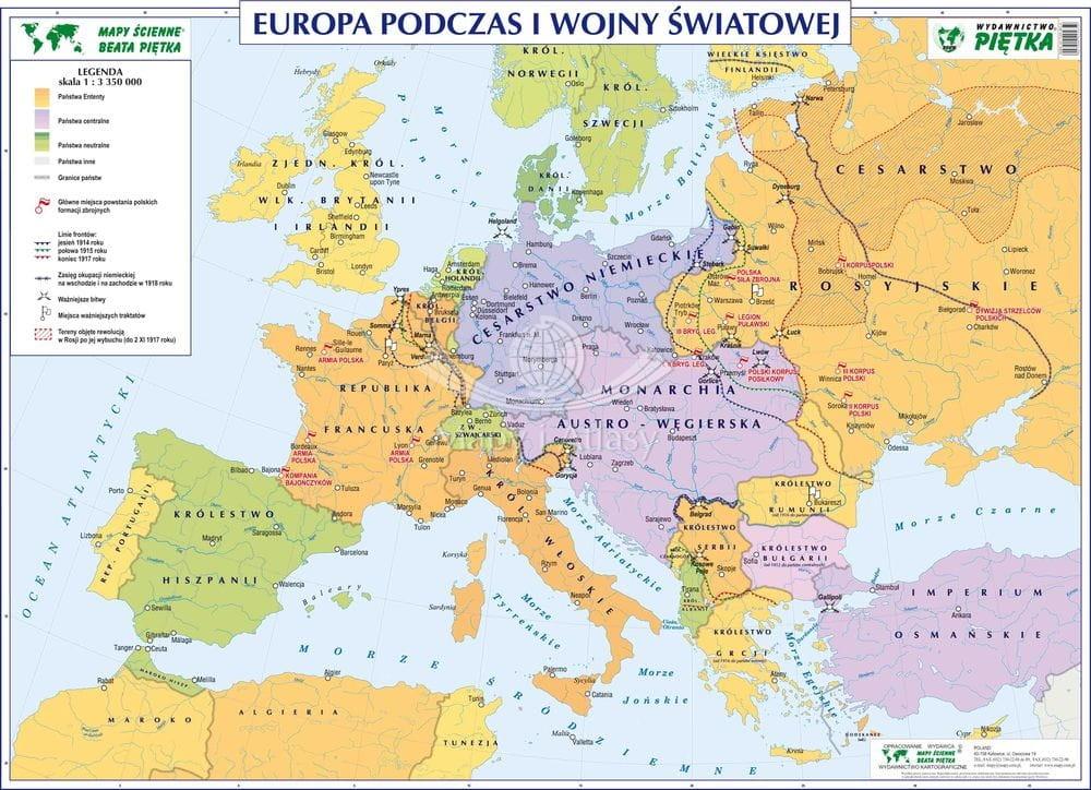 Europa Podczas I Wojny Swiatowej Mapa Szkolna