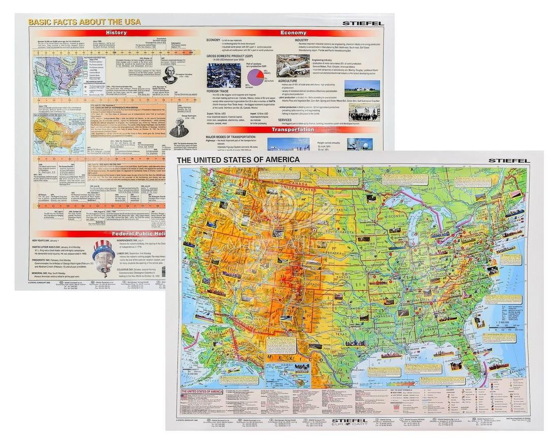 Stany Zjednoczone Mapa Scienna Fizyczna Fakty