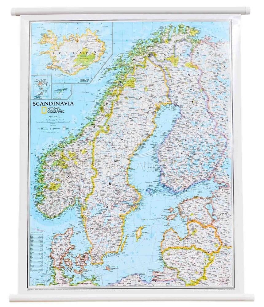 Skandynawia Mapa Scienna National Geographic