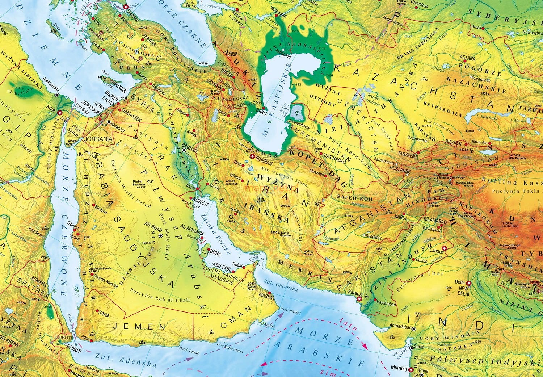 Fizyczna Mapa ścienna Eurazji
