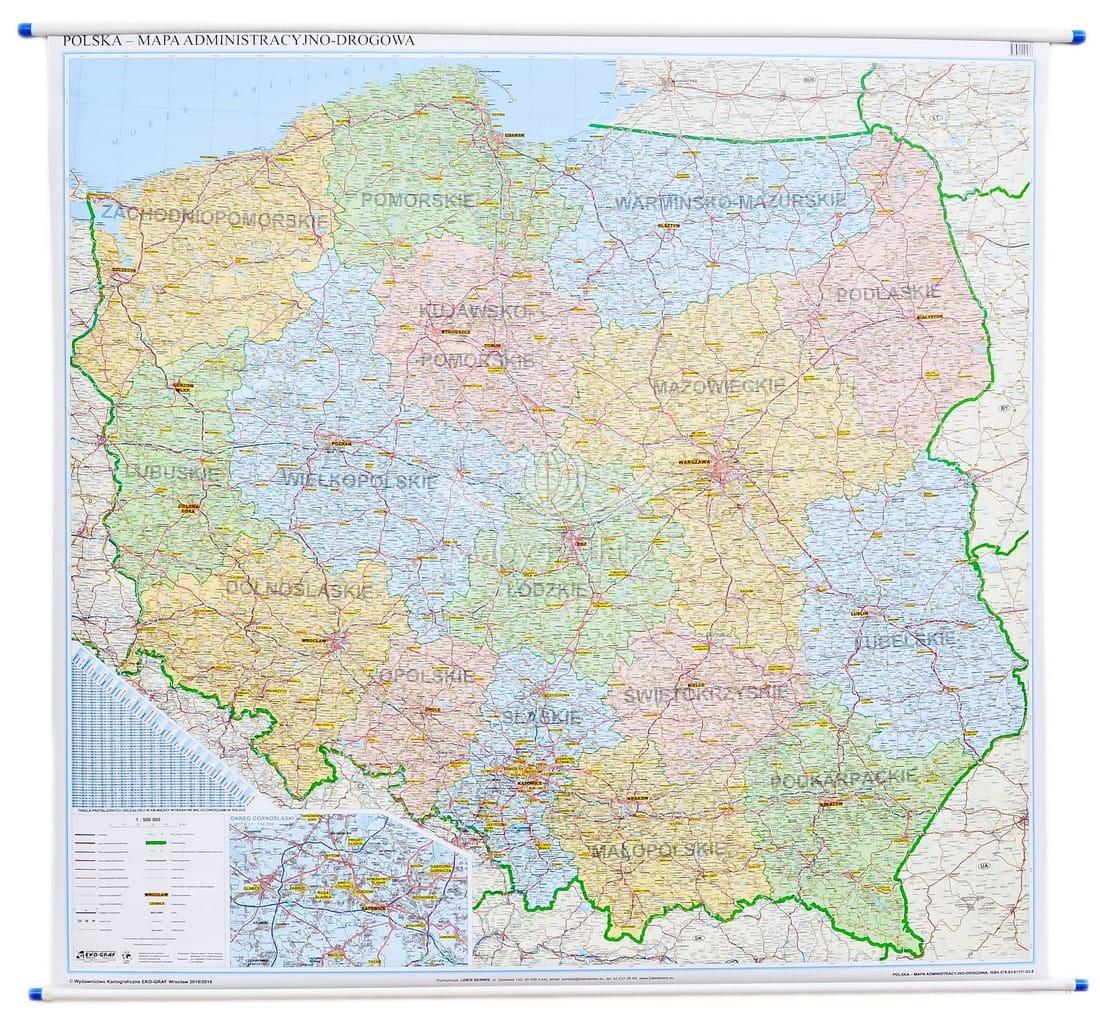 Polska Mapa Scienna Administracyjna Drogowa