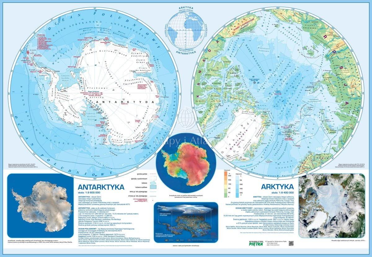 Antarktyka I Arktyka Mapa Scienna Szkolna