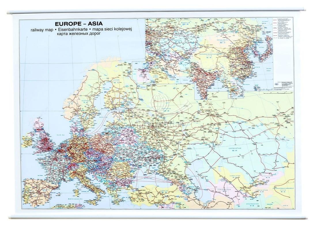 Europa I Azja Mapa Scienna Kolejowa