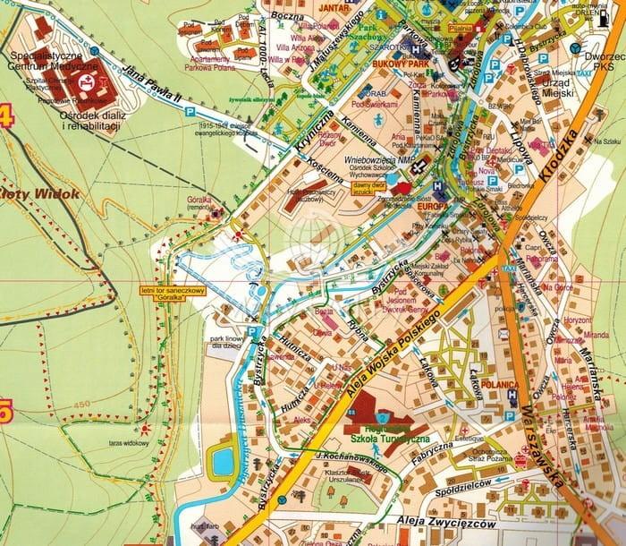Polanica Zdrój Składany Plan Miasta Mapa Okolic