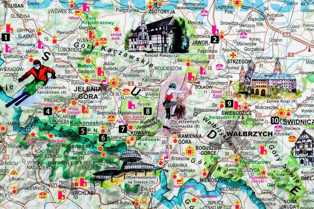 Polska 1 685 000 Atrakcje Turystyczne Polski Dwustronna Mapa Scienna