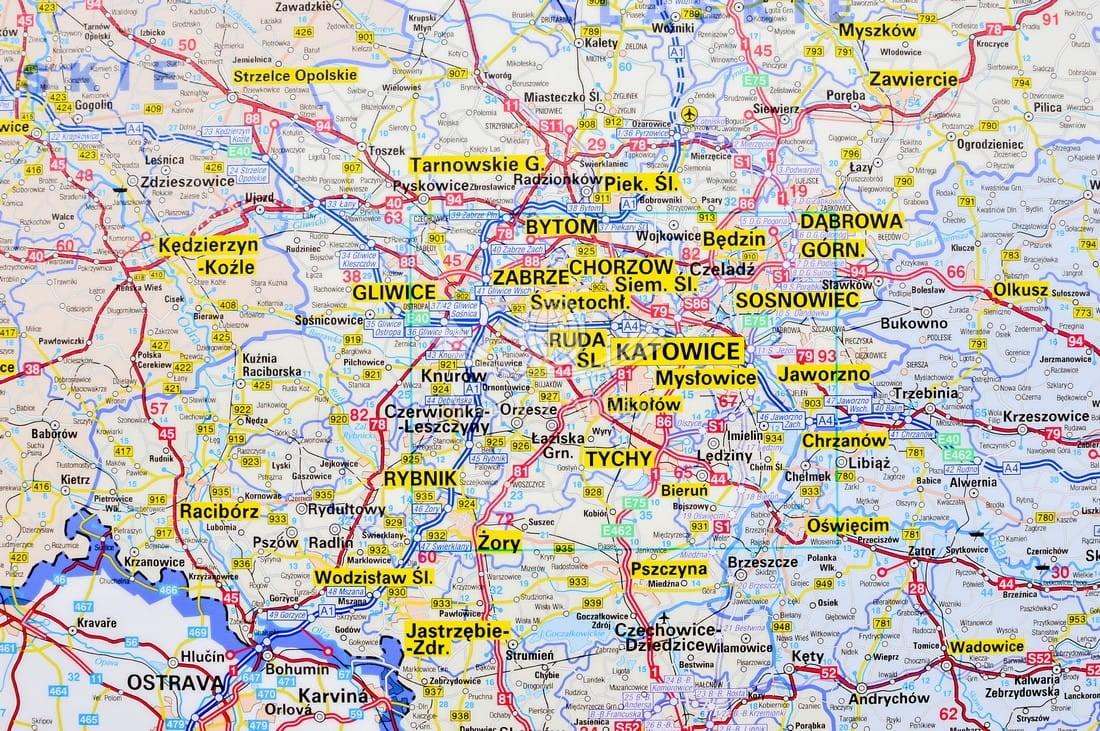 Polska Poludniowa Mapa Scienna Adm Drog