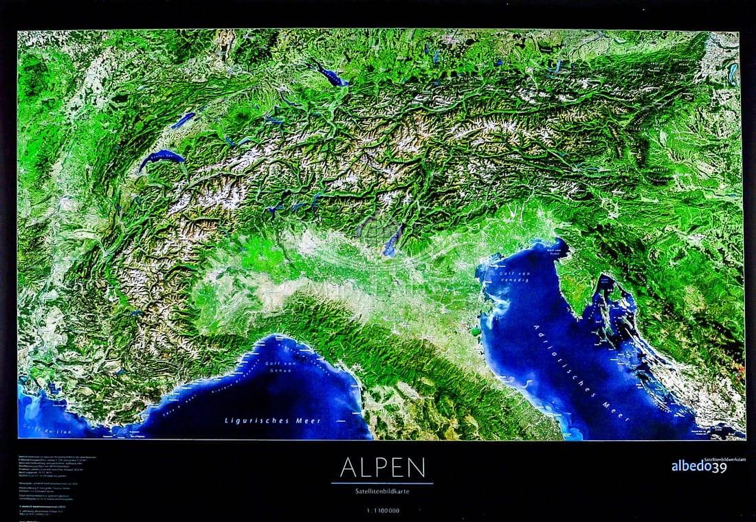 Alpy Mapa Scienna Fizyczna Satelitarna