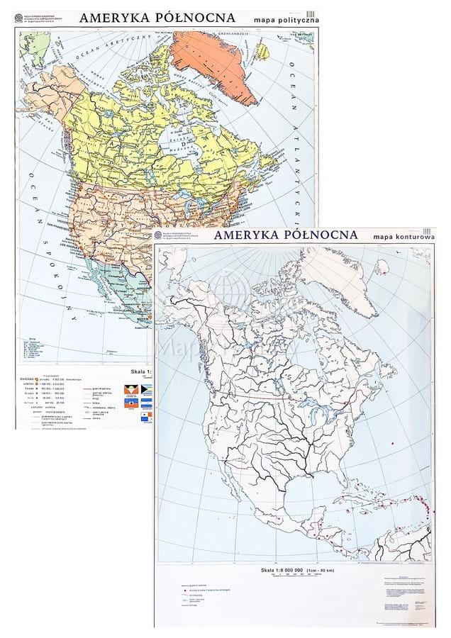 Ameryka Polnocna Mapa Scienna Polityczno Konturowa