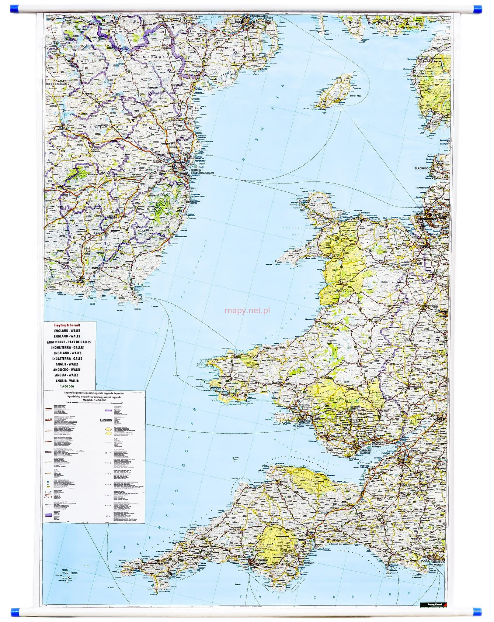 Anglia I Wala Mapa Scienna Drogowa Freytag