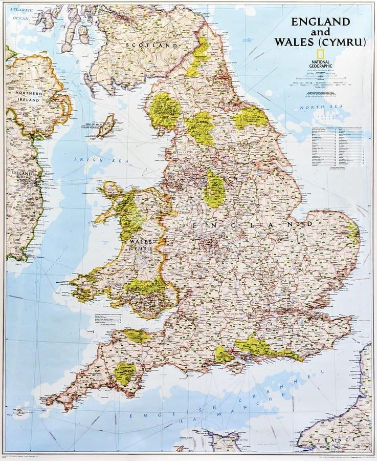 Anglia I Wala Mapa Scienna Drogowo Fizyczna