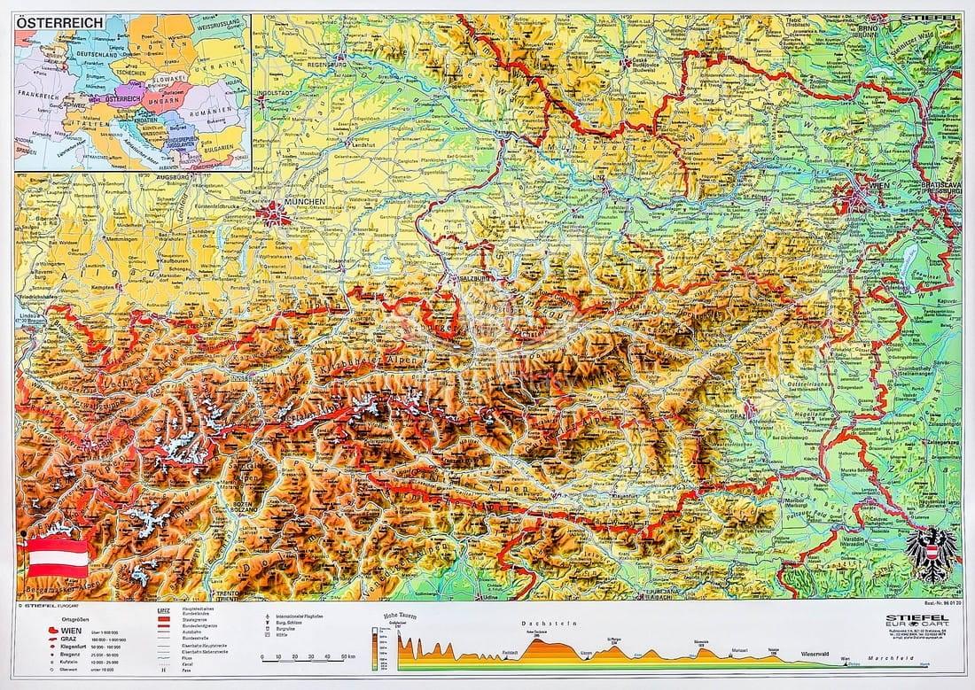 Austria Mapa Scienna Fizyczna