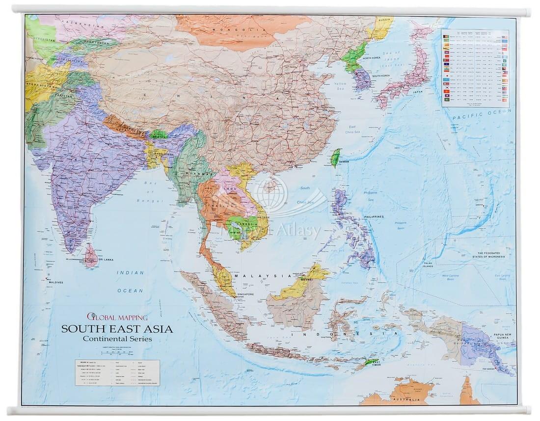 Azja Poludniowo Wschodnia Mapa Scienna