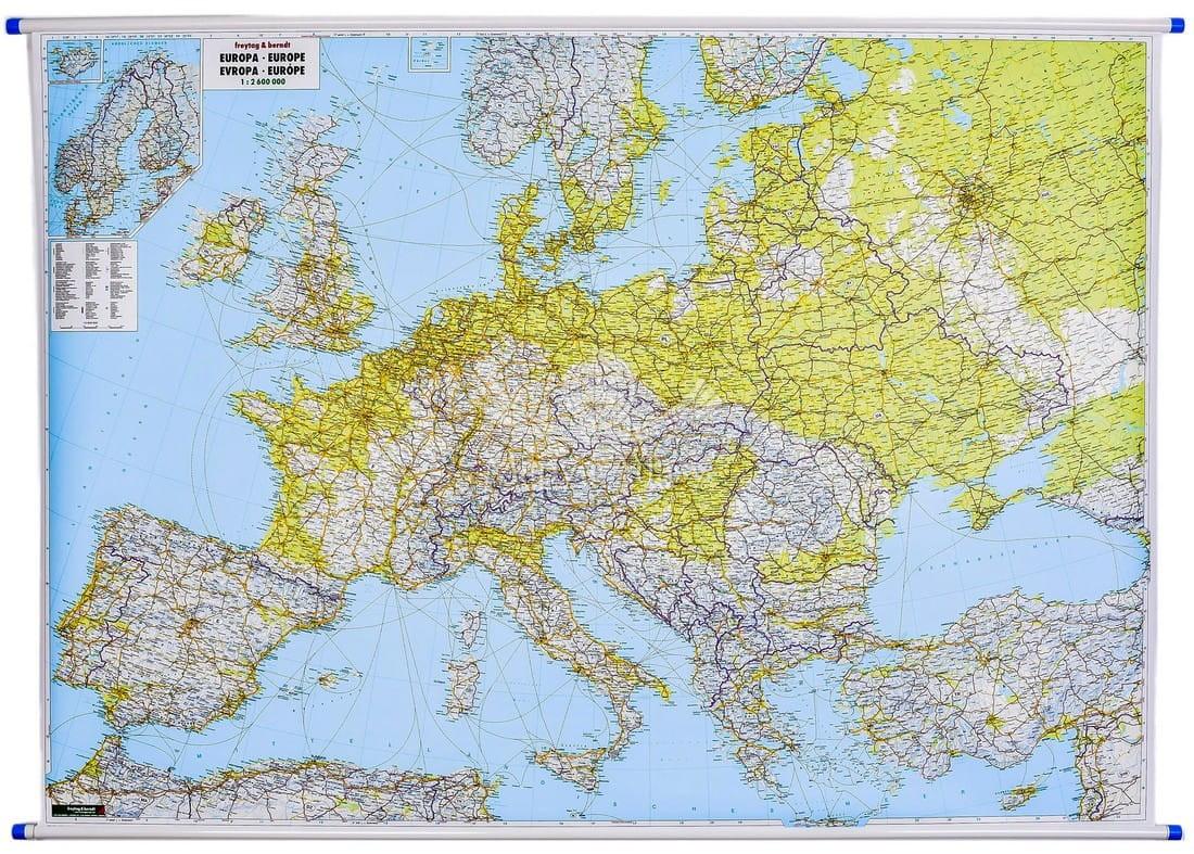 Europa Mapa Scienna Drogowa I Fizyczna Freytag