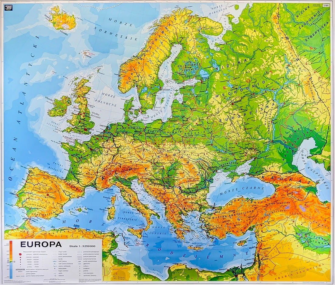 Europa Mapa Ogolnogeograficzna Fizyczna Do Cwiczen Mapa