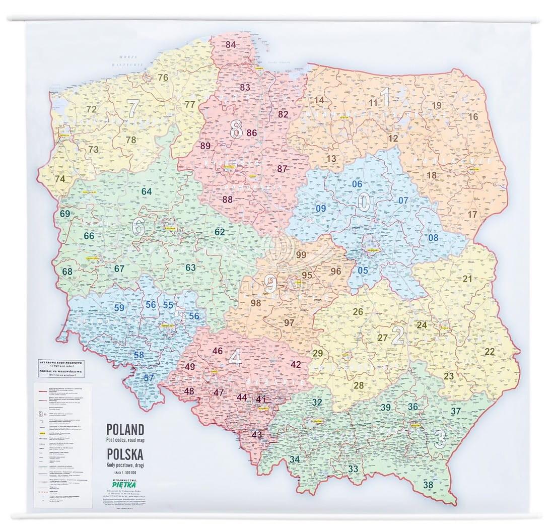 Polska Duza Mapa Scienna Z Kodami Pocztowymi