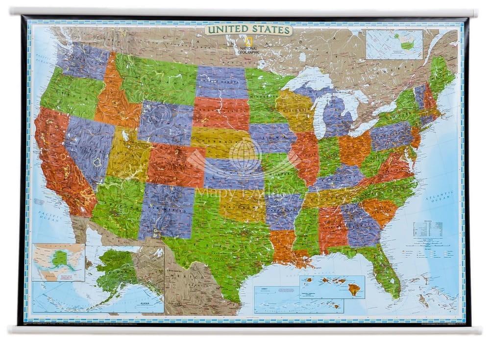 Stany Zjednoczone Mapa Scienna Ozdobna Ng