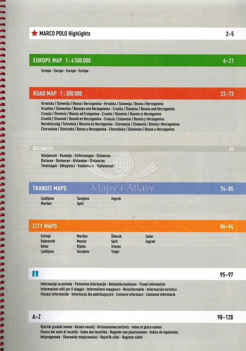 5eb26cb18b6d9 ... Chorwacja, Słowenia, Bośnia i Hercegowina Atlas samochodowy Marco Polo  spis treści ...