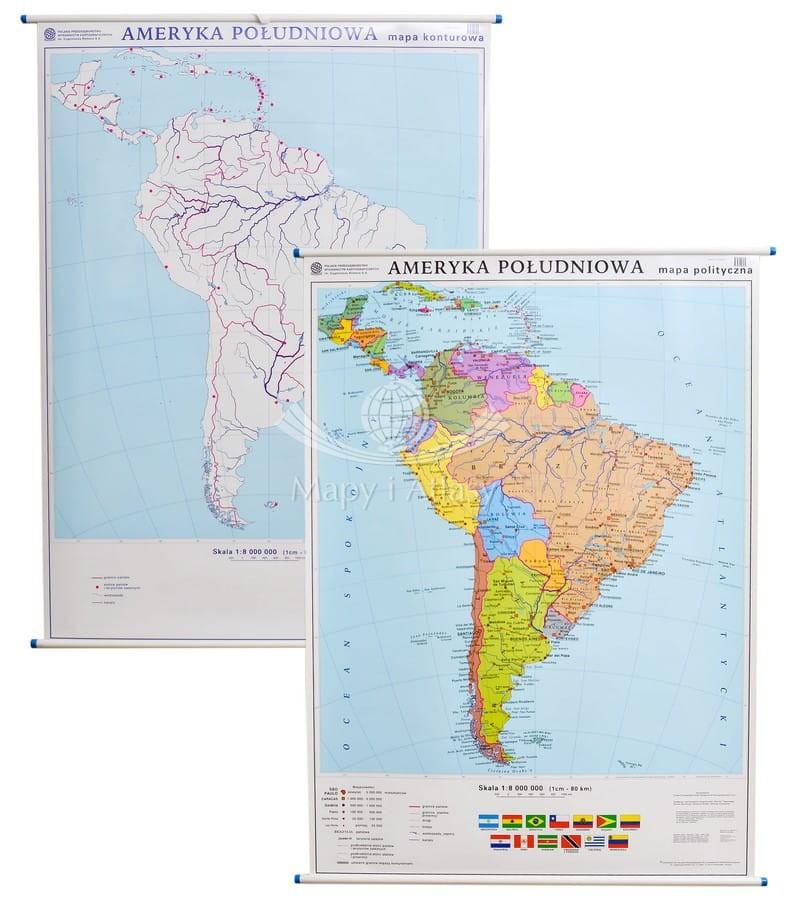 Ameryka Poludniowa Dwustronna Mapa Scienna Polityczna Konturowa