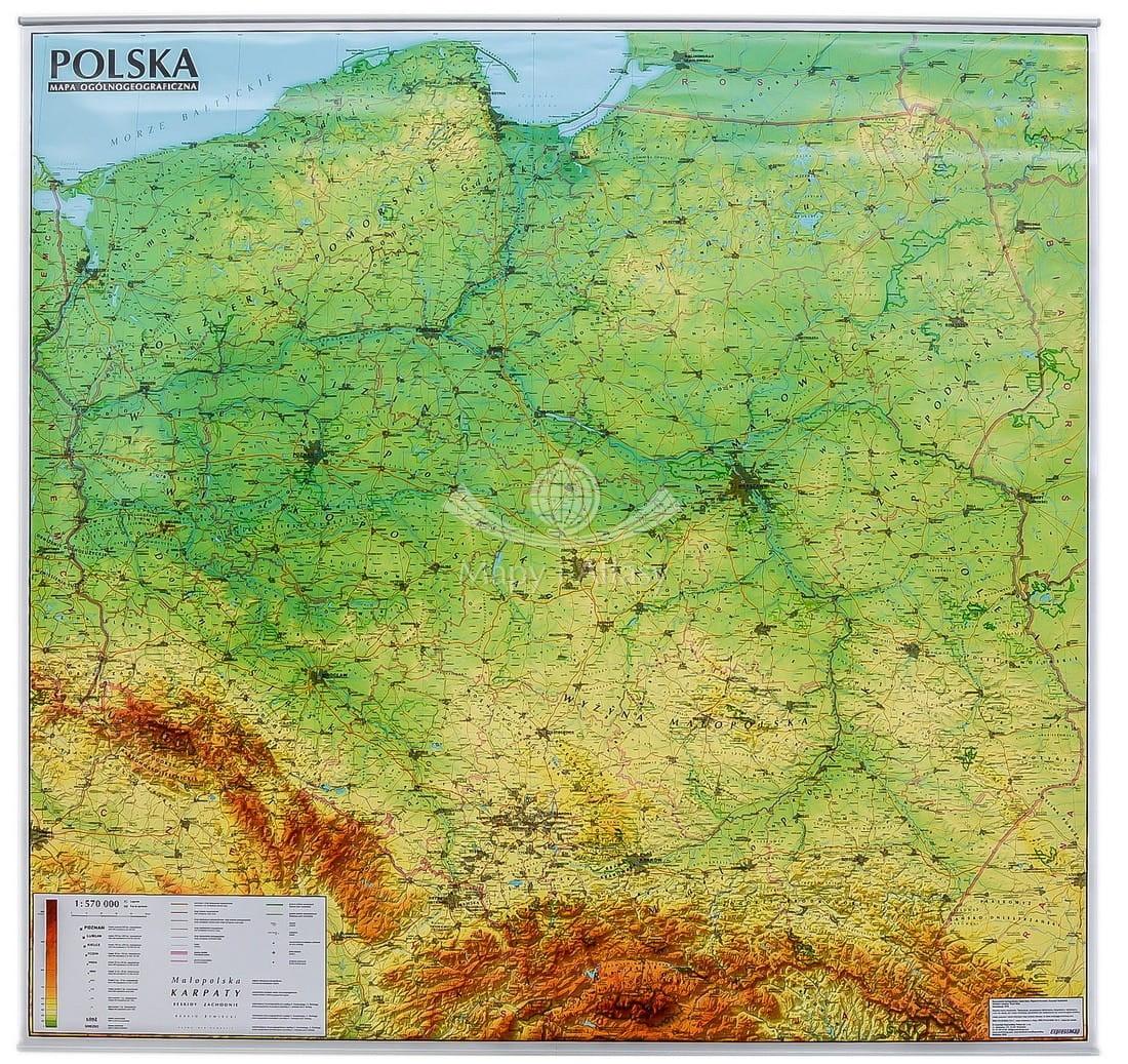 Polska Mapa Scienna Fizyczna Expressmap