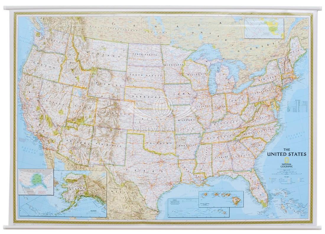Usa Mapa Scienna Polityczna National Geographic