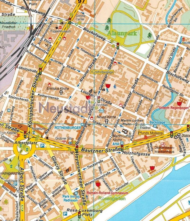 Drezno Mapa Skladana Samochodowa