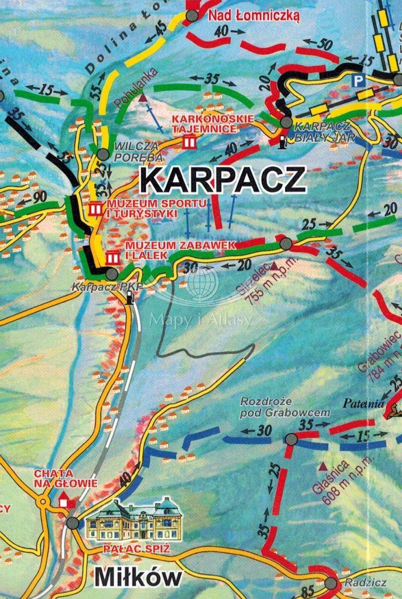 Karkonosze Szlaki Mapa Turystyczna Skladana