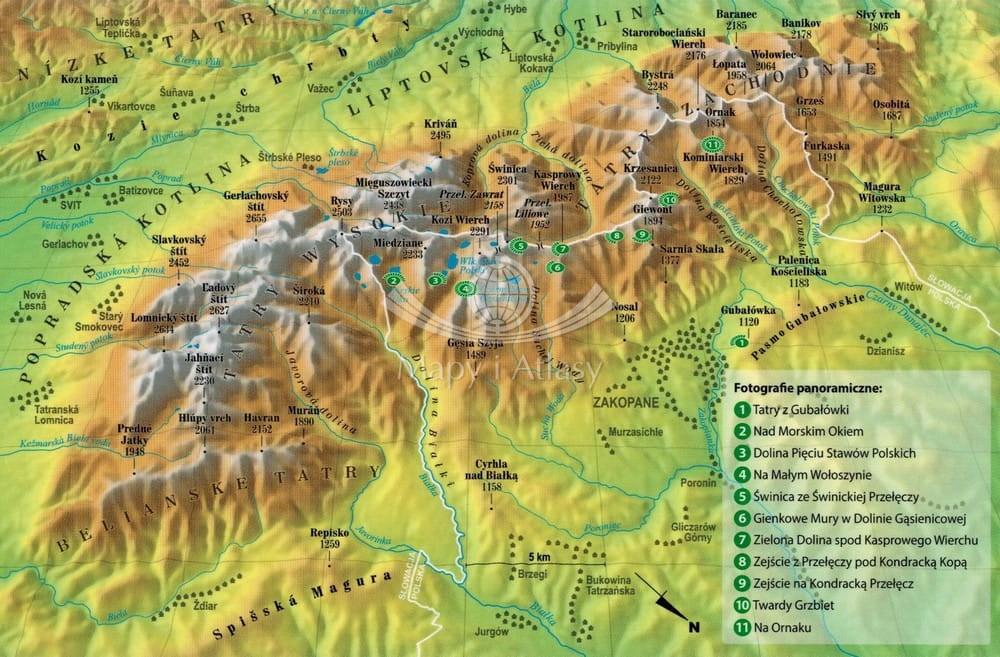 Tatry Mapa Panoramiczna Laminowana E Map