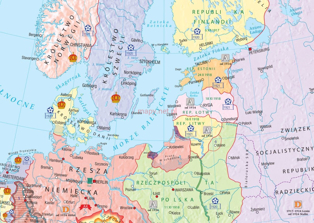 Europy W Latach 1918 1939 Mapa Fototapeta