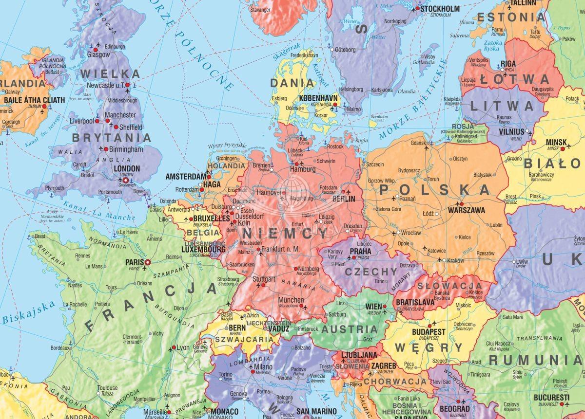 Europa Fototapeta Mapa Polityczna Szkolna