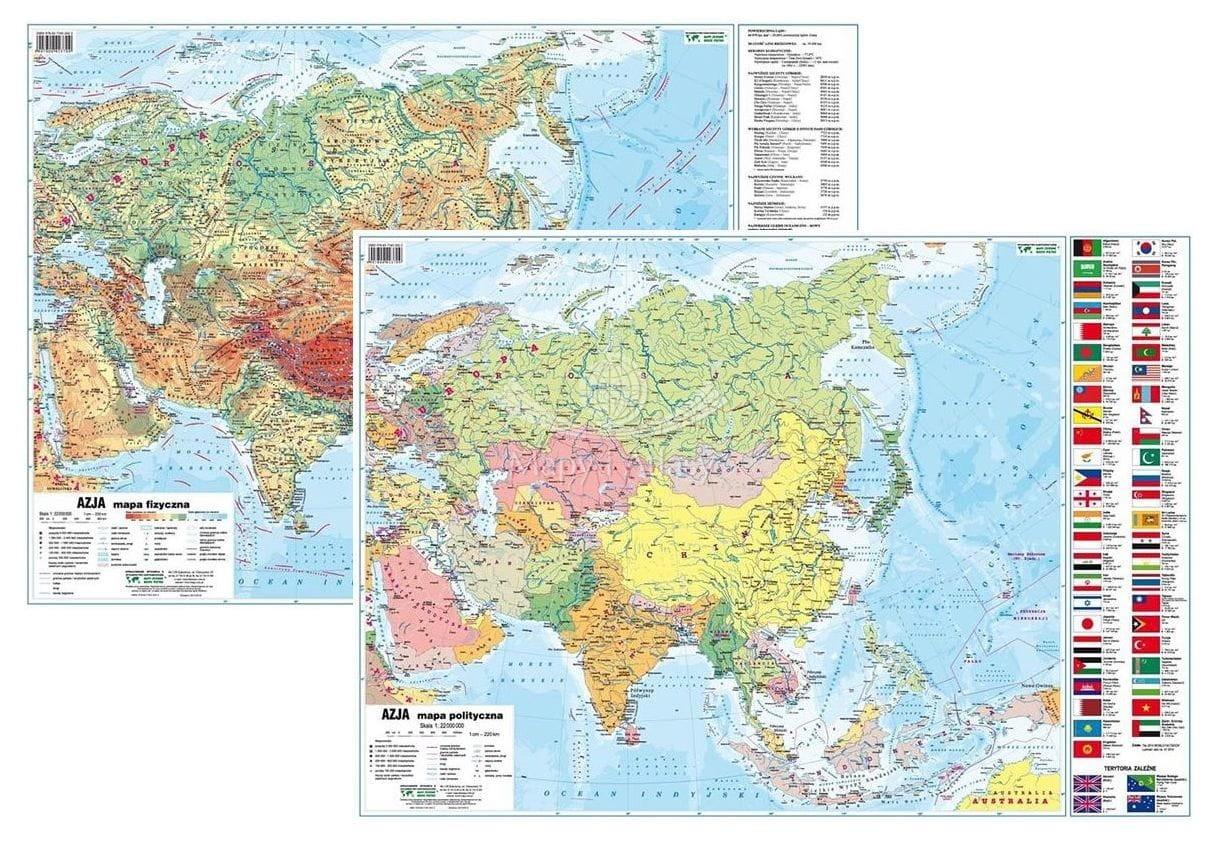Azja Mapa Podreczna Dwustronna Fiz Pol