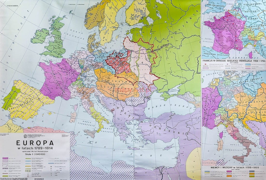 Europa W Latach 1789 1814 Mapa Scienna Szkolna