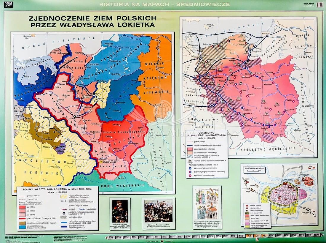 Polska Kazimierza Wielkiego Mapa Scienna Szkolna