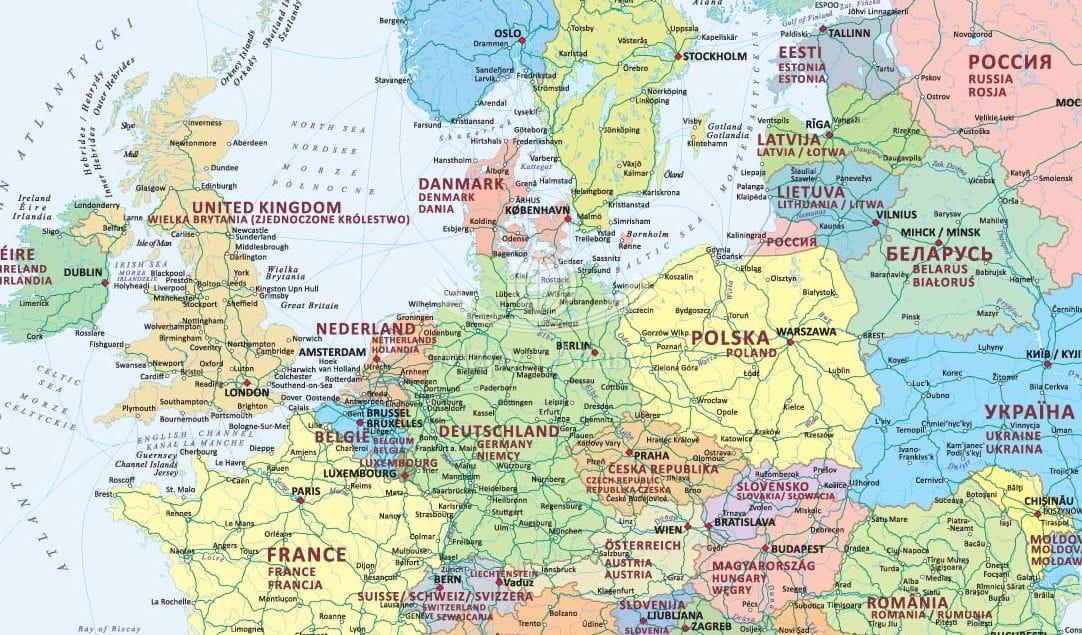 Europa Mapa Polityczna Podkladka Na Biurko