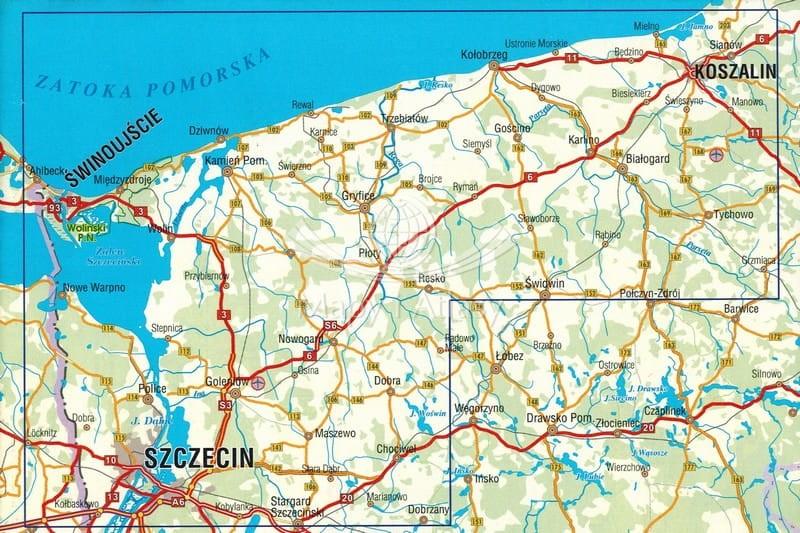 Pomorze Zachodnie Mapa Skladana Turystyczna