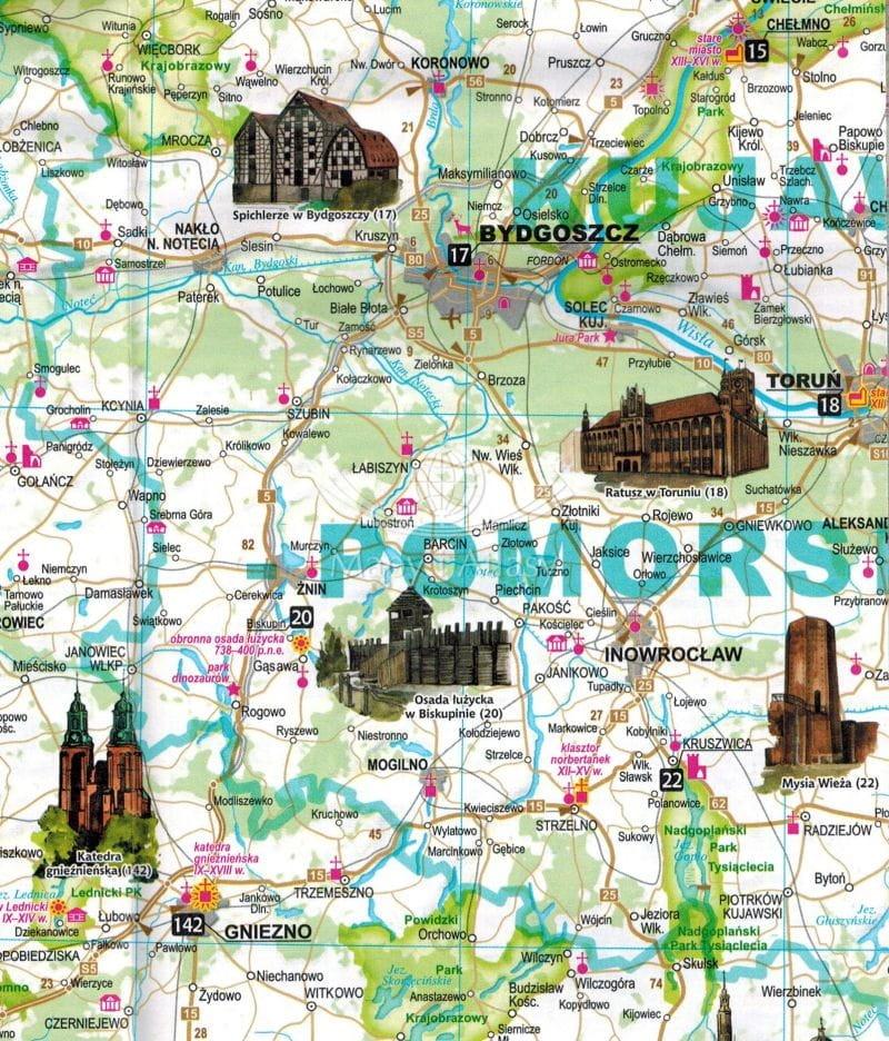 Polska Atrakcje Turystyczne Mapa Skladana