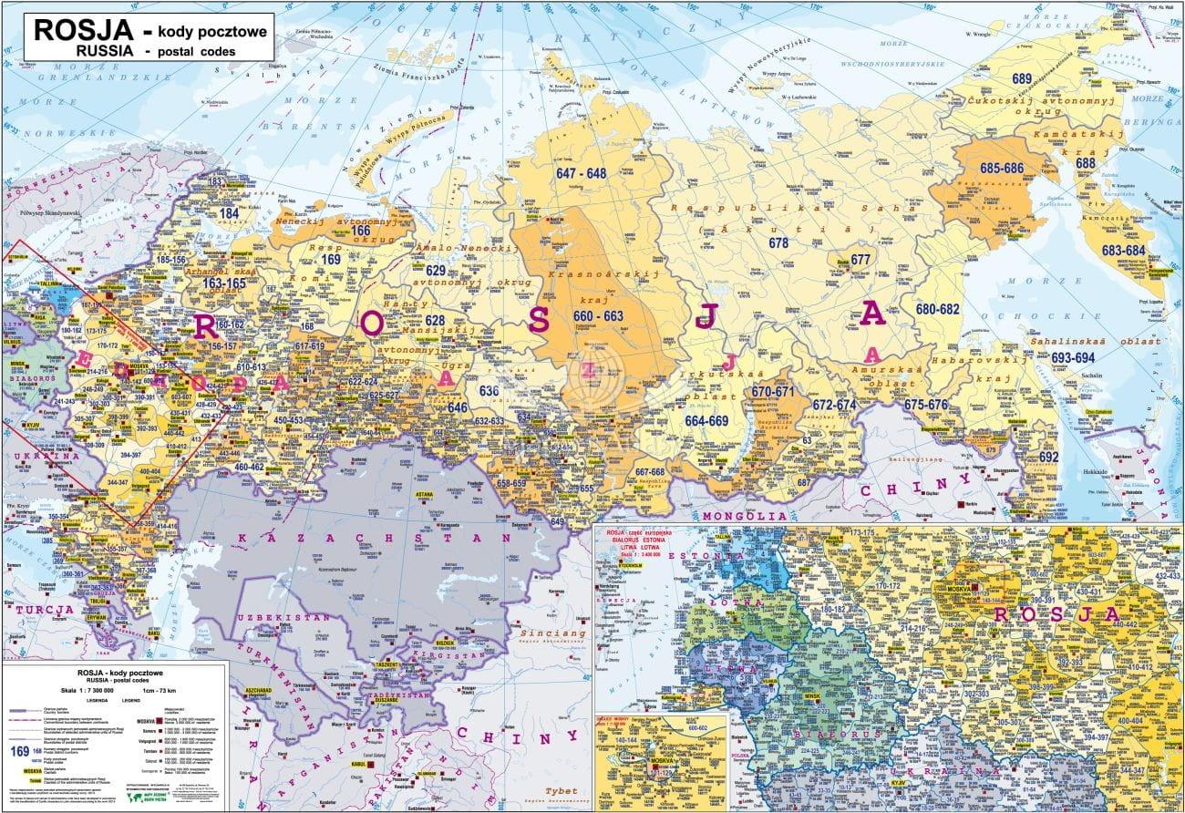 Rosja Mapa Z Kodami Pocztowymi Do Powieszenia