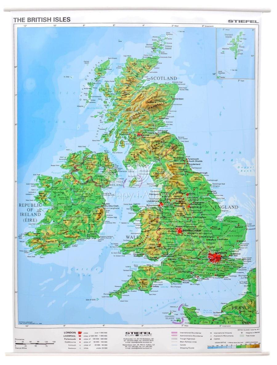 Wielka Brytania Mapa Scienna Fizyczna