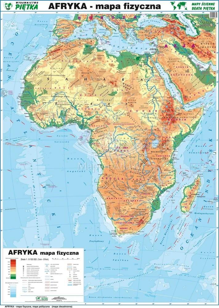 Afryka Naklejka Mapa Scienna Fizyczna