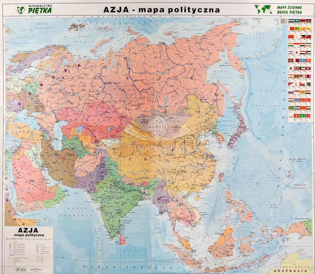 Azja Naklejka Mapa Scienna Polityczna